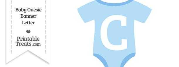 Blue Baby Onesie Shaped Banner Letter C