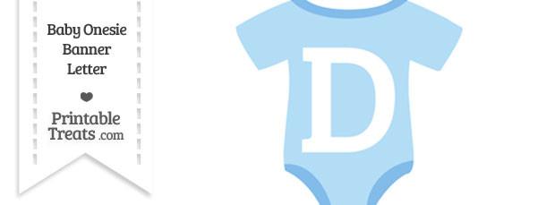 Blue Baby Onesie Shaped Banner Letter D