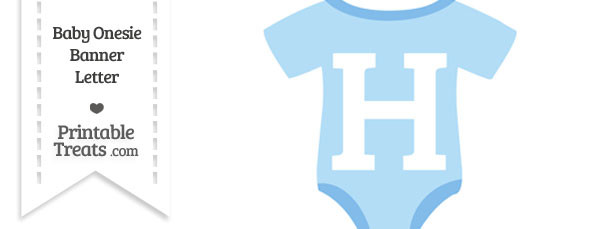 Blue Baby Onesie Shaped Banner Letter H