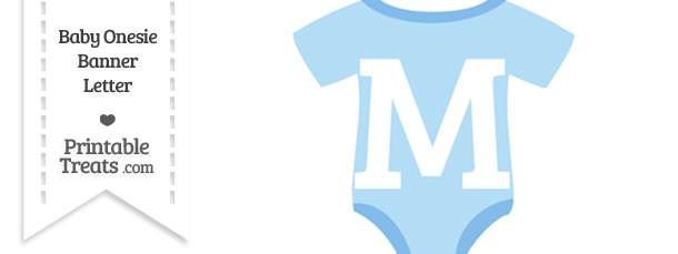Blue Baby Onesie Shaped Banner Letter M