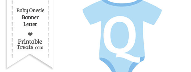 Blue Baby Onesie Shaped Banner Letter Q