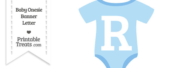 Blue Baby Onesie Shaped Banner Letter R