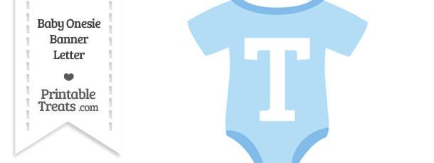Blue Baby Onesie Shaped Banner Letter T