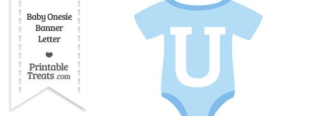 Blue Baby Onesie Shaped Banner Letter U