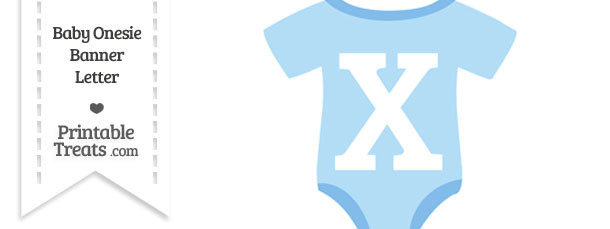 Blue Baby Onesie Shaped Banner Letter X
