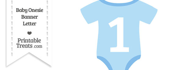 Blue Baby Onesie Shaped Banner Number 1