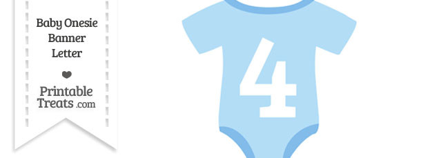 Blue Baby Onesie Shaped Banner Number 4