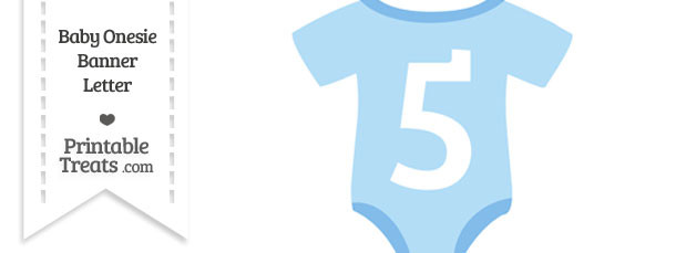 Blue Baby Onesie Shaped Banner Number 5