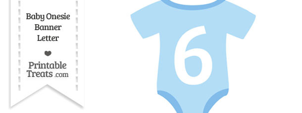 Blue Baby Onesie Shaped Banner Number 6