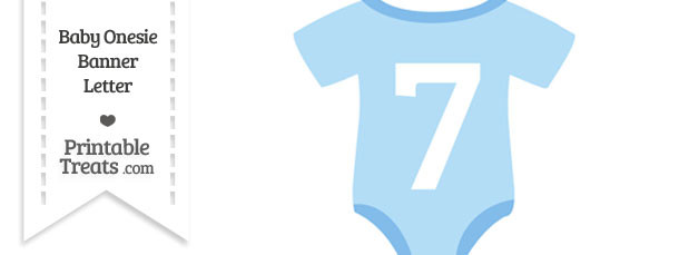 Blue Baby Onesie Shaped Banner Number 7