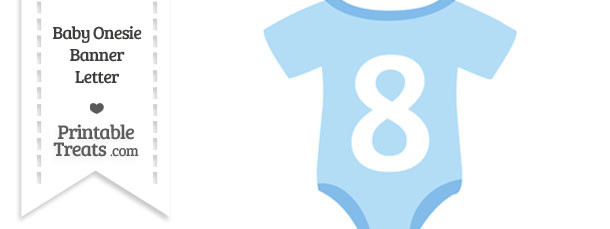 Blue Baby Onesie Shaped Banner Number 8