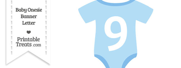 Blue Baby Onesie Shaped Banner Number 9