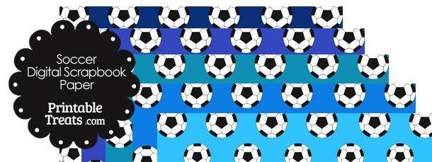 Blue Background Soccer Digital Scrapbook Paper