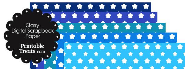Blue Background Star Digital Scrapbook Paper