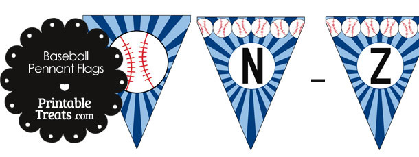 Blue Baseball Party Flag Letters N-Z
