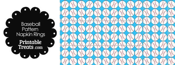 Blue Baseball Pattern Napkin Rings