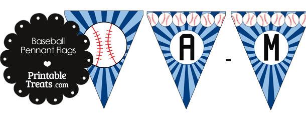 Blue Baseball Pennant Banner Flag Letters A-M