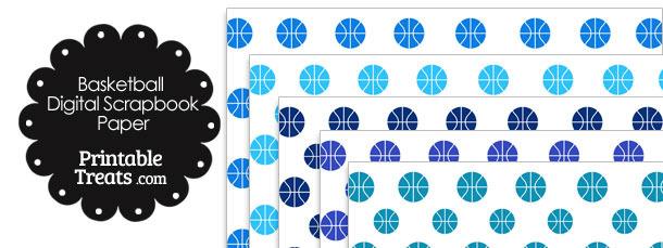 Blue Basketball Digital Scrapbook Paper