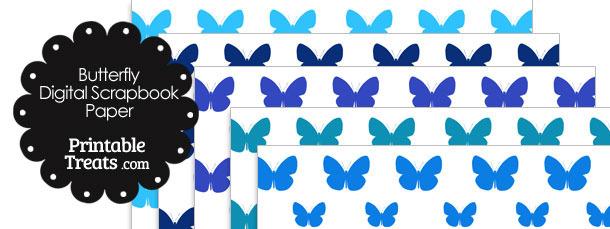 Blue Butterfly Digital Scrapbook Paper