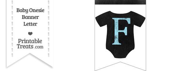 Blue Chalk Baby Onesie Bunting Banner Letter F