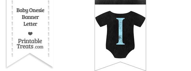 Blue Chalk Baby Onesie Bunting Banner Letter I