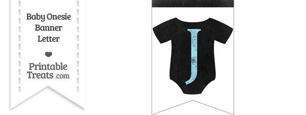 Blue Chalk Baby Onesie Bunting Banner Letter J