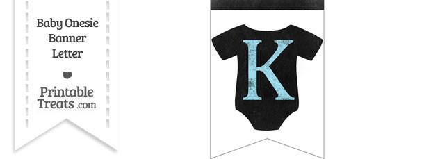 Blue Chalk Baby Onesie Bunting Banner Letter K