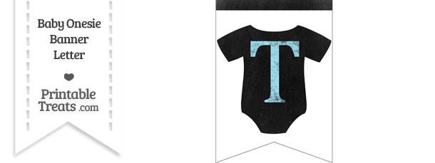 Blue Chalk Baby Onesie Bunting Banner Letter T