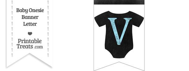 Blue Chalk Baby Onesie Bunting Banner Letter V