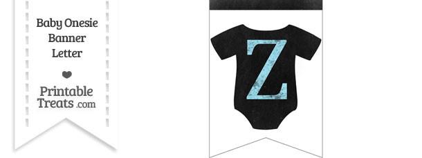 Blue Chalk Baby Onesie Bunting Banner Letter Z