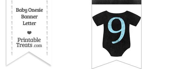 Blue Chalk Baby Onesie Bunting Banner Number 9