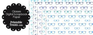 Blue Glasses Digital Scrapbook Paper