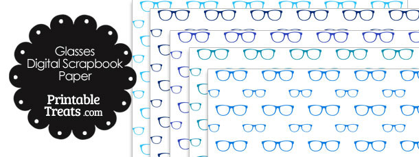 Blue Glasses Digital Scrapbook Paper