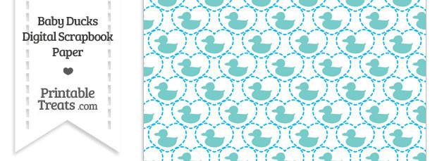 Blue Green Baby Ducks Digital Scrapbook Paper