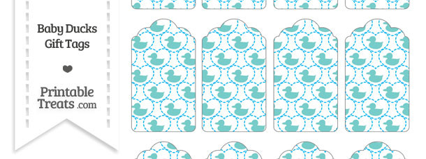 Blue Green Baby Ducks Gift Tags