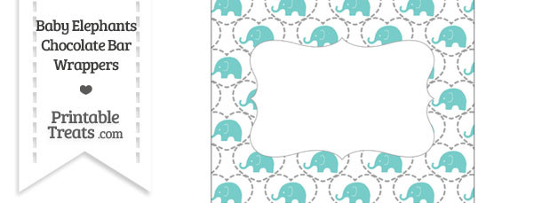 Blue Green Baby Elephants Chocolate Bar Wrappers