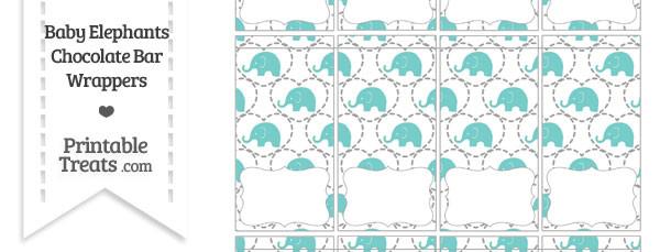 Blue Green Baby Elephants Mini Chocolate Bar Wrappers