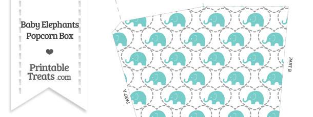 Blue Green Baby Elephants Popcorn Box