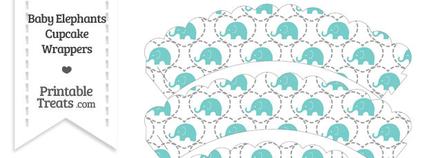 Blue Green Baby Elephants Scalloped Cupcake Wrappers