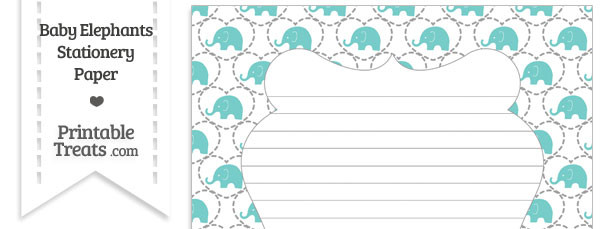 Blue Green Baby Elephants Stationery Paper