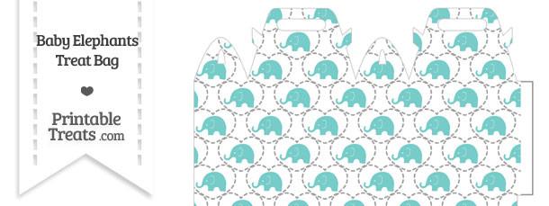 Blue Green Baby Elephants Treat Bag