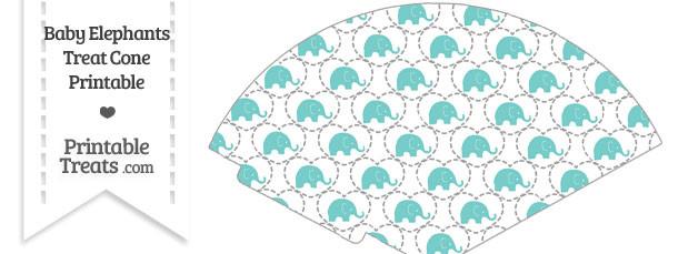 Blue Green Baby Elephants Treat Cone