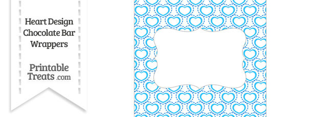 Blue Heart Design Chocolate Bar Wrappers