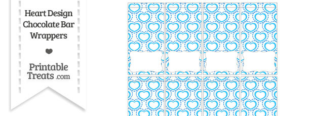 Blue Heart Design Mini Chocolate Bar Wrappers