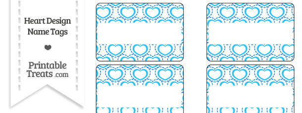 Blue Heart Design Name Tags