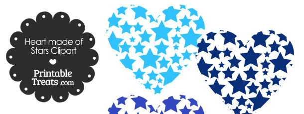 Blue Heart Made of Stars Clipart