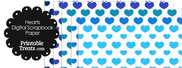 Blue Hearts Digital Scrapbook Paper