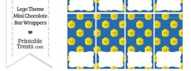 Blue Lego Theme Mini Chocolate Bar Wrappers