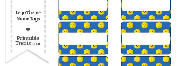Blue Lego Theme Name Tags