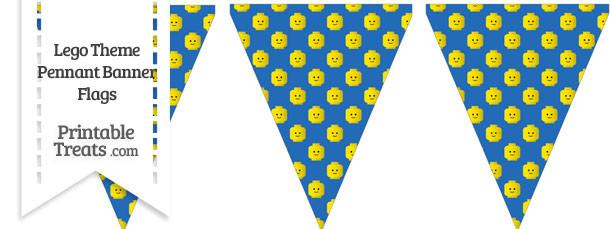 Blue Lego Theme Pennant Banner Flag